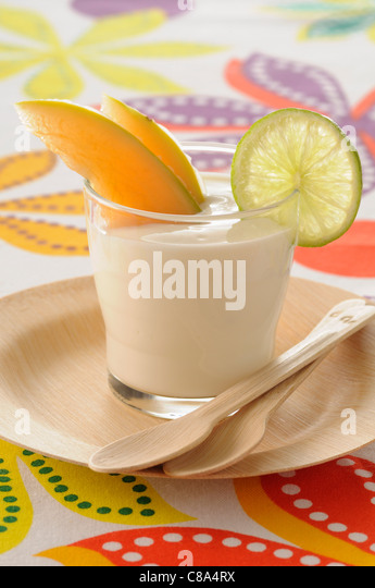 Melon and Pineau des Charentes yoghurt - Stock Image