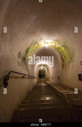 Multi level bunker system behind Hitler's Berghof mansion,  This stairway leads down into the tunnels and is - Stock Image