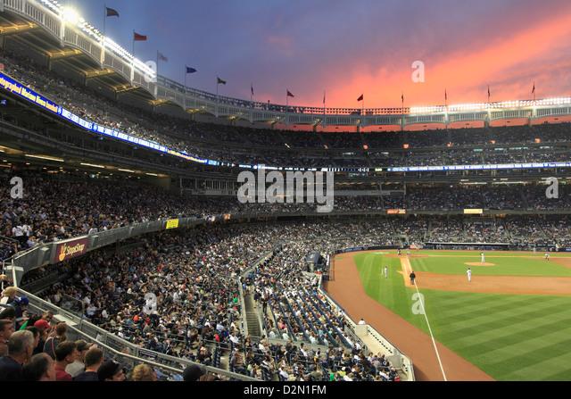 Baseball Game, Yankee Stadium, Bronx, New York City, United States of America, North America - Stock Image