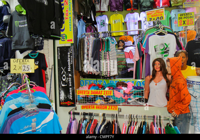 Peru Tacna Avenida Bolognese Central Market Central Market retail store shopping business clothing apparel mannequin - Stock Image
