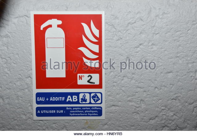 Fire extinguish signs - Stock Image