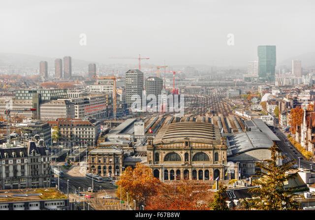 November 2015, cityscape of Zurich (Switzerland), HDR-technique - Stock Image