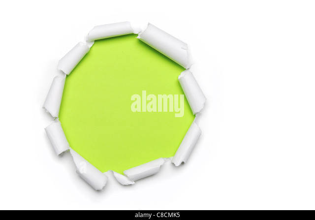 Torn Paper with circlet's shape and green background with space for text - Stock Image