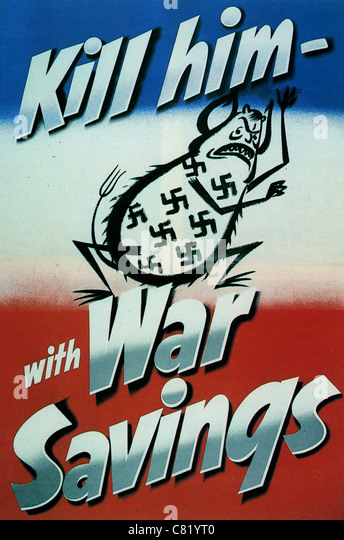 KILL HIM WITH WAR SAVINGS British WW2 poster - Stock Image