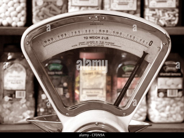 British vintage sweet shop scales, Eagle brow, Lymm, Warrington, Cheshire, England, UK - Stock Image