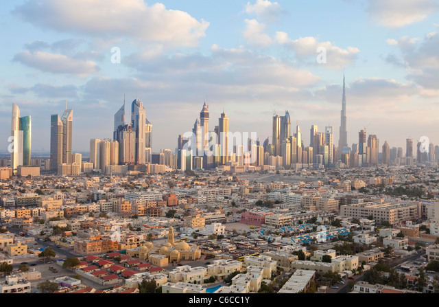United Arab Emirates, Dubai, elevated view of the new Dubai skyline including the Burj Khalifa - Stock Image