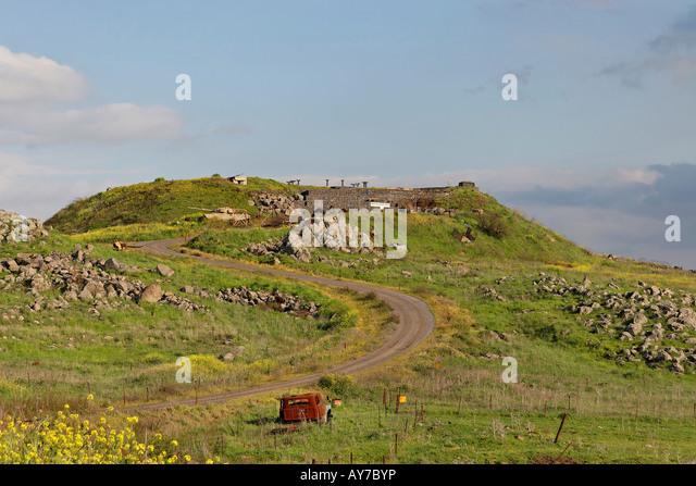 The Golan Heights Tel Saki site of a fierce battle in the Yom Kippur war - Stock Image