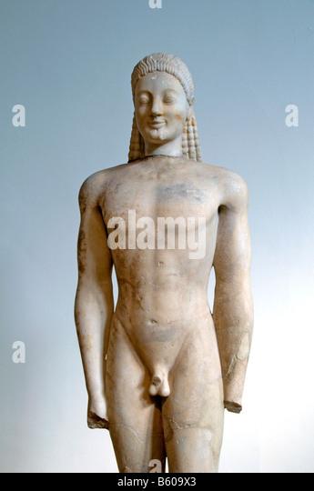 Kouros statue Parian Paria Volomandra Attica athenian aristocrat 560 550 Greek Greece - Stock Image
