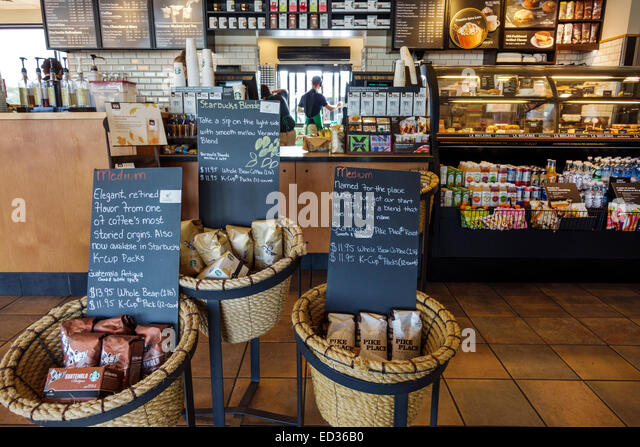 Illinois Springfield Starbucks Coffee cafe inside interior display sale basket counter - Stock Image