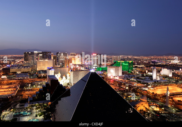 Elevated view of casinos on The Strip, Las Vegas, Nevada, United States of America, North America - Stock Image
