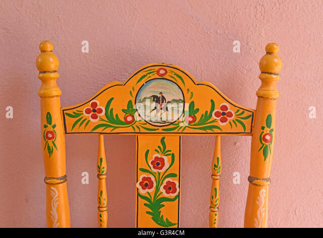 Hand painted chairs from Seville Andalucia, Spain traditional chairs decoration decor interior design artesian 'Made - Stock Image