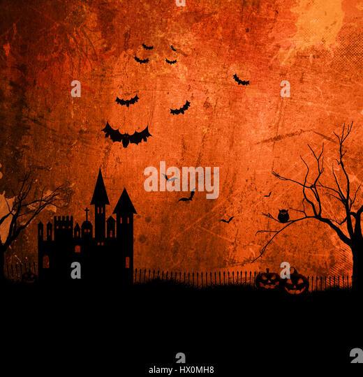 Detailed orange grunge Halloween background with haunted house - Stock Image
