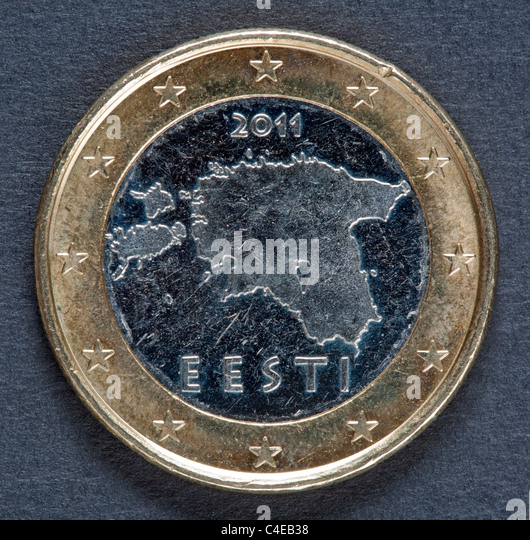 Estonian one euro coin - Stock Image