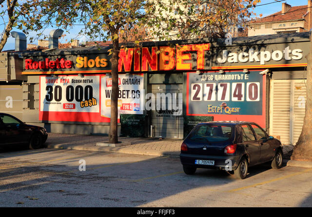 WinBet roulette slots gambling shop, Plovdiv, Bulgaria, eastern Europe - Stock Image