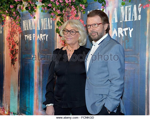 epa05114460 Former ABBA member Bjorn Ulvaeus (R) and partner Lena Kallersjo arrive for the premiere of 'Mamma - Stock Image