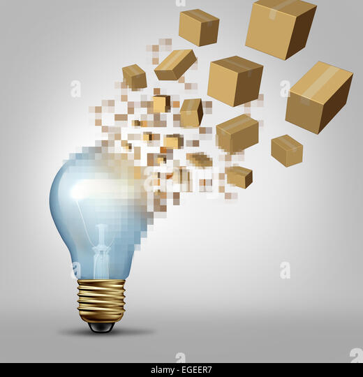 Idea to reality as a light bulb being digitally pixelated and the coded fragments transforming into packaged boxes - Stock Image
