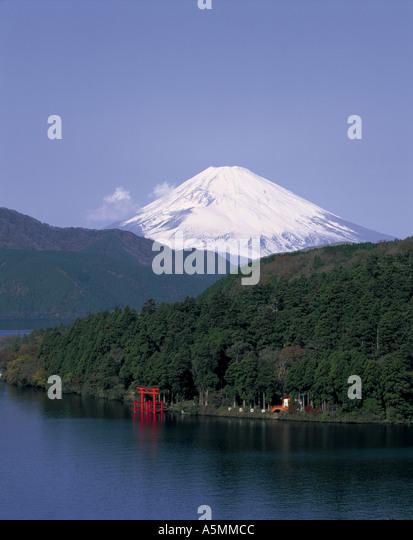 Mt Fuji and Lake Ashi Japan - Stock Image
