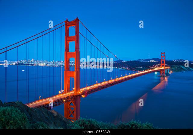 San Francisco The Golden Gate Bridge traffic light trails across the bridge to Marin County City of San Francisco - Stock Image
