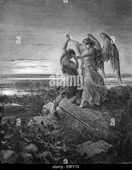 Jacob wrestling with the angel, Genesis 32 : 24 -29. Drawn by Gustave Doré, French artist, b January 6, 1832 - Stock Image