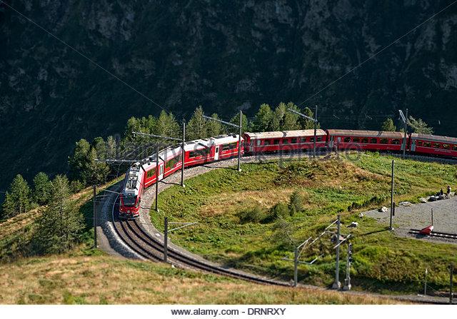 Mountain train at Alp Gruem, with the Valposchiavo in the background, Engadin, Switzerland. - Stock-Bilder