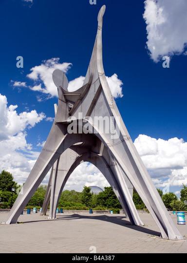 Alexander Calder's stabile entitled Man in Montreal, Canada. - Stock Image