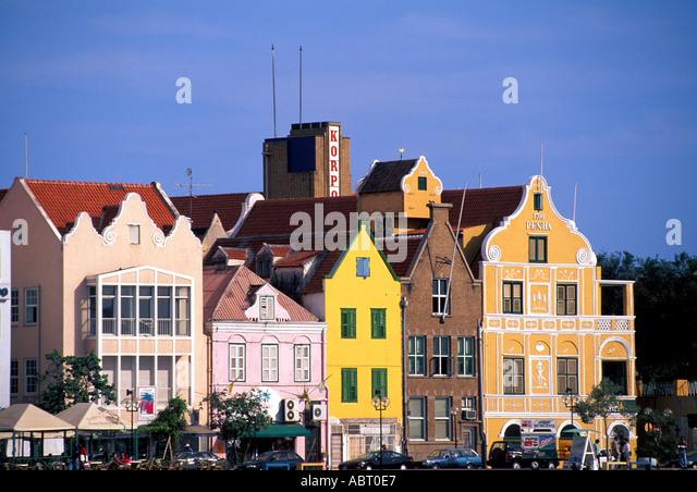 CARIBBEAN Curacao Willemstad Waterfront Buildings Punda Side - Stock Image