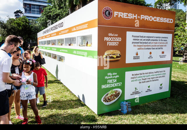 Florida Miami Bayfront Park Chipotle Cultivate Festival exhibit fresh vs. processed food foods - Stock Image