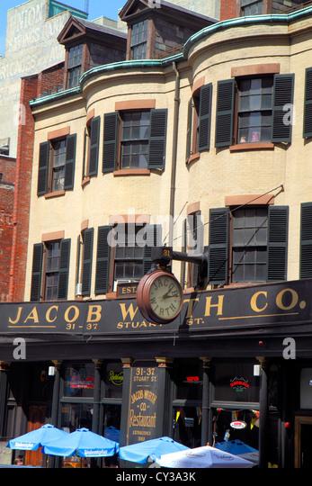 Boston Massachusetts Stuart Street Jacob Wirth Co. Restaurant exterior front historic downtown - Stock Image