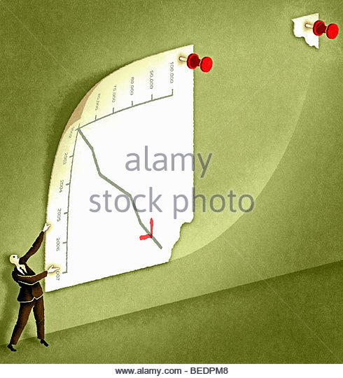 Businessman turning graph to change analysis - Stock Image