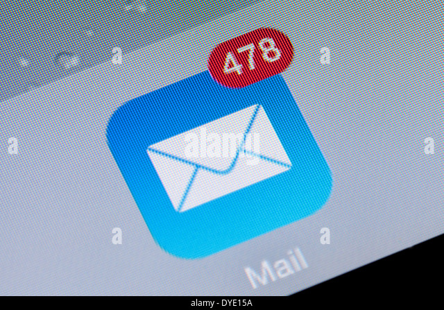 Close up of an e mail app icon logo inbox on an iPad, UK - Stock-Bilder