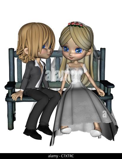 Cute Toon Wedding Couple - 2 - Stock Image
