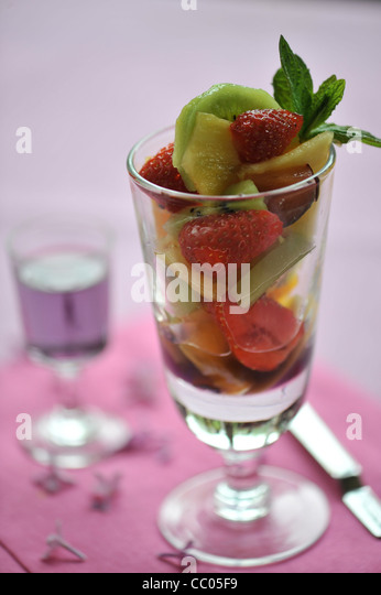 Fruits and Violet Salad - Stock Image