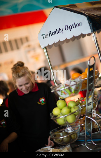 Healthy Option foods on offer during the Dinner break lunchtime canteen at a secondary comprehensive school, Wales - Stock Image