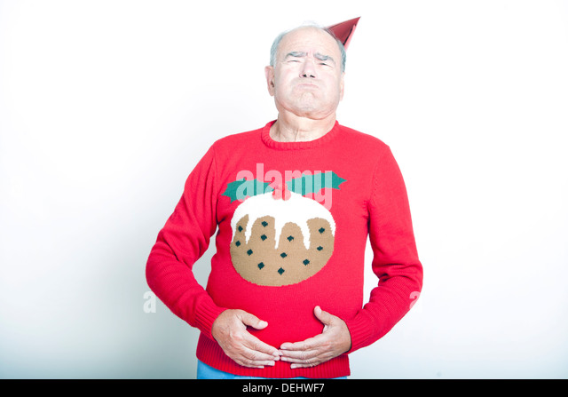 Senior Adult Man indicating that he is full up - Stock Image