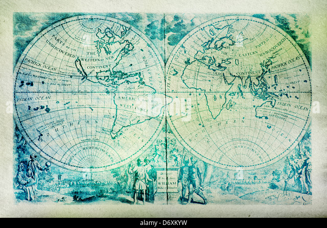 Ancient map of the World on roughly textured paper - Stock Image