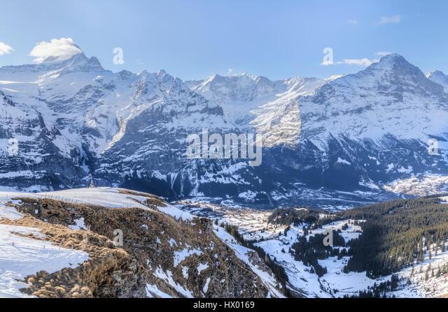 panorama view of the summits near Grindelwald, Berne, Switzerland - Stock-Bilder