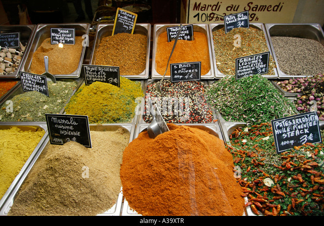 France Nice old city center market stall with spices - Stock Image