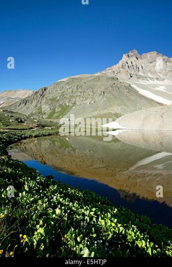 Gilpin Peak reflected on Wright Lake, Yankee Boy Basin, near Ouray, Colorado USA - Stock-Bilder