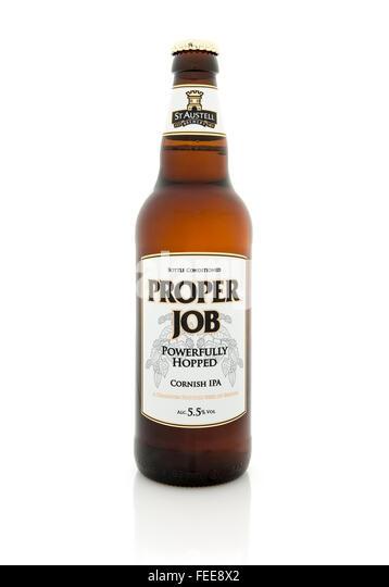Bottle Of Proper Job Cornish Pale Ale, A Champion Bottled Beer - Stock Image