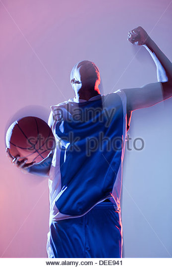 Basketball player cheering - Stock Image