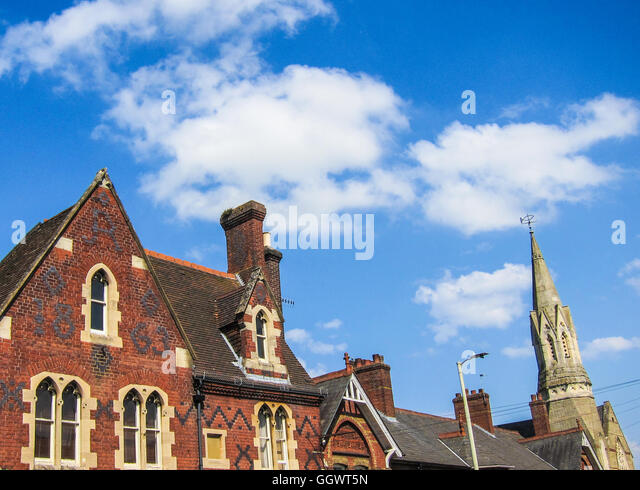 A former dwelling, now with shop front on ground floor - built in 1863 of Victorian Gothic architecture - Berkhamsted, - Stock Image