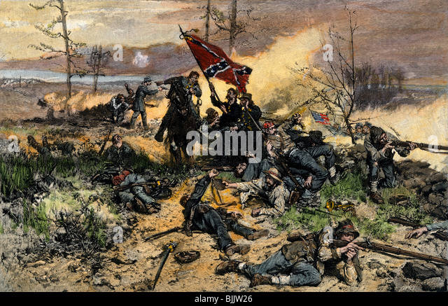 Confederate soldiers on the line of battle with fate against them - Stock Image