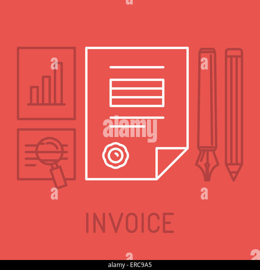 Invoice concept in outline style - bill icon with stamp paid - Stock-Bilder