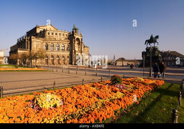 Dresden Saxony Semper Opera theatre square flowers - Stock Image