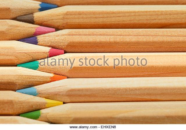 Colour pencils still life macro close up detail - Stock Image