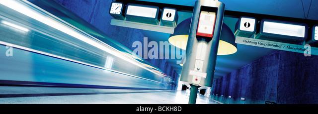Train platform, panoramic view - Stock Image