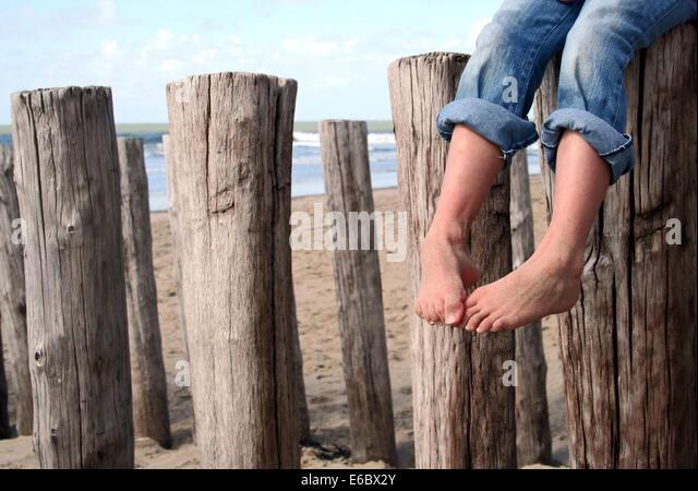 child,barefoot,holidays,childhood - Stock Image