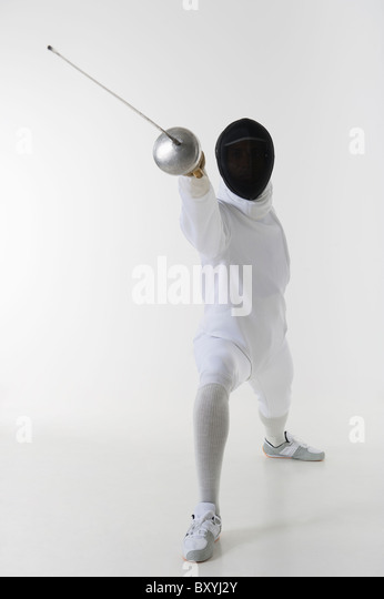 Studio shot of fencer - Stock Image