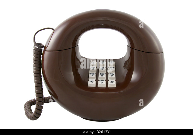 Vintage 'Sculptura' telephone by Western Electric, also called the 'donut phone.' Circa 1970s modern - Stock Image