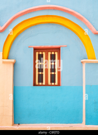 Colourful Blue and yellow Indian village house detail. Andhra Pradesh. India - Stock-Bilder